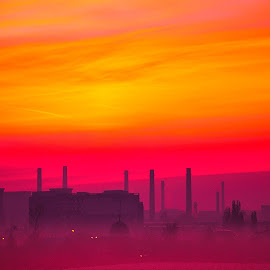 industrial sunrise by Emil Zaman - City,  Street & Park  Neighborhoods ( orange, sunrise, industrial, city, violet, sun )
