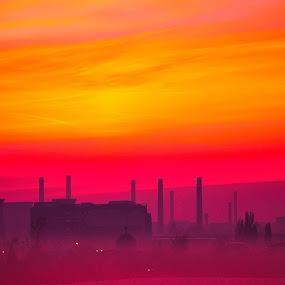 industrial sunrise by Emil Zaman - City,  Street & Park  Neighborhoods ( orange, sunrise, industrial, city, violet, sun )