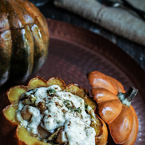 Stuffed Pumpkin with Bacon, Leeks and Scallops