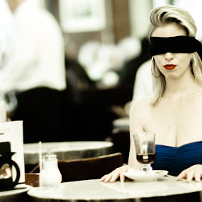 Waiting by Gunleik Groovie - People Portraits of Women ( blindfold, waiting, woman, public, city )