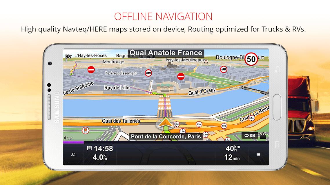 Sygic Truck GPS Navigation screenshots