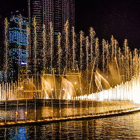 Dancing water by James Booth - City,  Street & Park  Fountains ( night photography, waterscape, fountains, burj, burj khalifa )