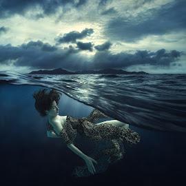 dream by Dmitry Laudin - People Fashion ( girl, blue, waves, sunset, swim, dress under water, ocean, air, island )