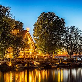 Golden lights  by Linda Brueckmann - City,  Street & Park  Night