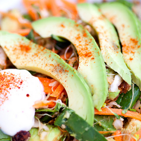 Mexican Inspired Creamy Vegan Salad with Veggie Beef, Avocado and Vegan Sour Cream
