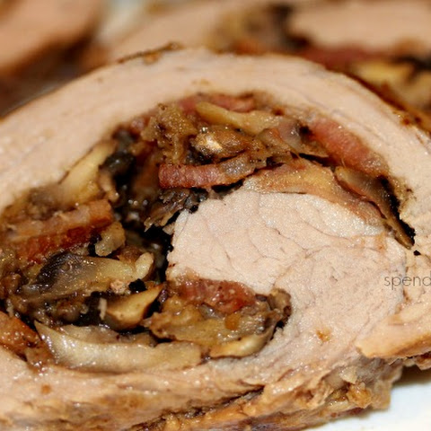 Mushroom Bacon Stuffed Pork Tenderloin