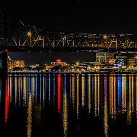 Peoria Nighrscape by Darrin Ralph - Buildings & Architecture Bridges & Suspended Structures ( cityscapes, reflection, night photography, reflections, cityscape, bridge, night shot, nightscape )