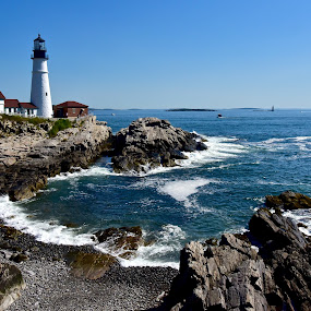 Portland Head Lighthouse by Joe Fazio - Landscapes Waterscapes ( maine, lighthouses, fort williams, lobster, portland, casco bay, sea, cape elizabeth )