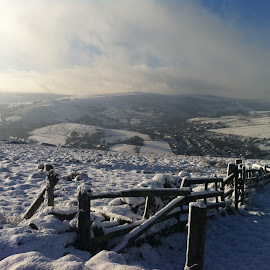 snowy hill tops by Mike Owen - Novices Only Landscapes ( fence, hills, cold, snow, landscape )