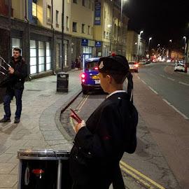 Chiiled Drummer  by Stephen Lang - City,  Street & Park  Street Scenes