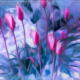 by Mark Wathen - Digital Art Things ( watercolor, arrangement, flowers, garden )