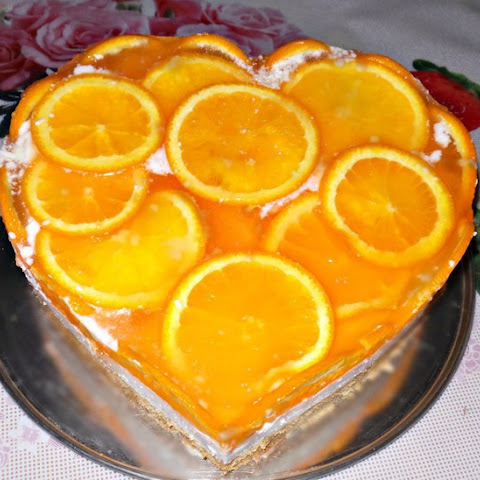 Biscuit Jelly-curd cake with orange