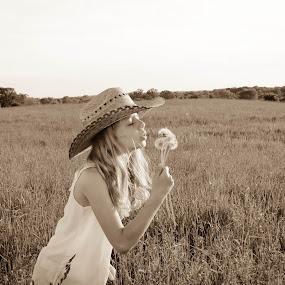 Wish by Emily Schmidt - Babies & Children Children Candids ( farm, field, child, sepia, girl, rustic, country,  )