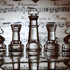 Glass chess at christmas by Peter Salmon - Artistic Objects Glass