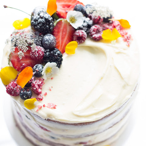 Naked Berry Cake with Vanilla Cream Cheese Frosting