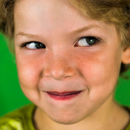 Cheeky Chap by Jamie Ledwith - Babies & Children Child Portraits ( smirk, cheeky, green, smile, boy, eyes )