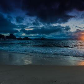 Copacabana Beach at sunrise by Arif Sarıyıldız - City,  Street & Park  Vistas ( brazil, sea, travel, beach, sunrise, copacabana )