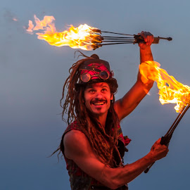 Playing with fire by Gaby Halperin - People Musicians & Entertainers ( torch, jungling, performe, artist, fire )