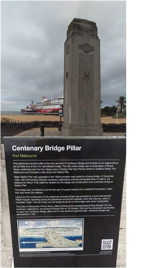 The plaque reads: This reinforced concrete pillar is the only remnant of Centenary Bridge and remains on its original site at the St Kilda end of the now demolished bridge. The 305 metre bridge was a ...