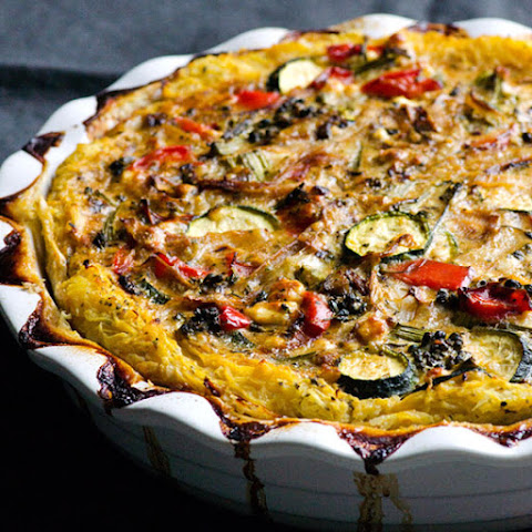 Spaghetti Squash Quiche with Balsamic Vegetables & Feta