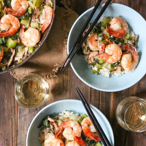 Garlicky Shrimp Stir-Fry with Shiitake Mushrooms and Baby Bok Choy