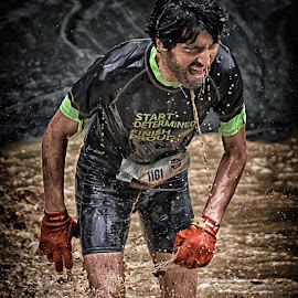 Start Determined, Finish Proud ! by Marco Bertamé - Sports & Fitness Other Sports ( greed, water, rnning, splatter, splash, differdange, 2015, gloves, number, waterdrops, sopup, luxembourg, red, mud, strong, drops, brown, 1161, strongmanrun, man )