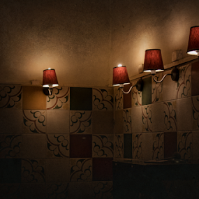 Lamps by Edi Libedinsky - Artistic Objects Other Objects ( lamps, old, tiles, corner, lamp, antique, light, wall,  )