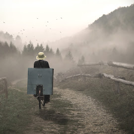 GoHome by Art Poetra - Digital Art Places ( *mountain*fog*man*human*grass )
