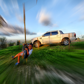 Hey There! by Ferdinand Ludo - Babies & Children Child Portraits ( great timing, child passes by, west 35, ford ranger t6 background, swing )