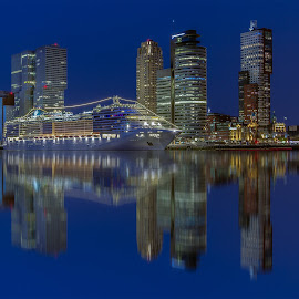 MSC Splendida at cruiseterminal Rotterdam by Rémon Lourier - City,  Street & Park  Skylines ( mirrored reflections, water, highrise, reflection, cruiseship, rotterdam, blue hour, holland, cityscape, cruise, moonlight )