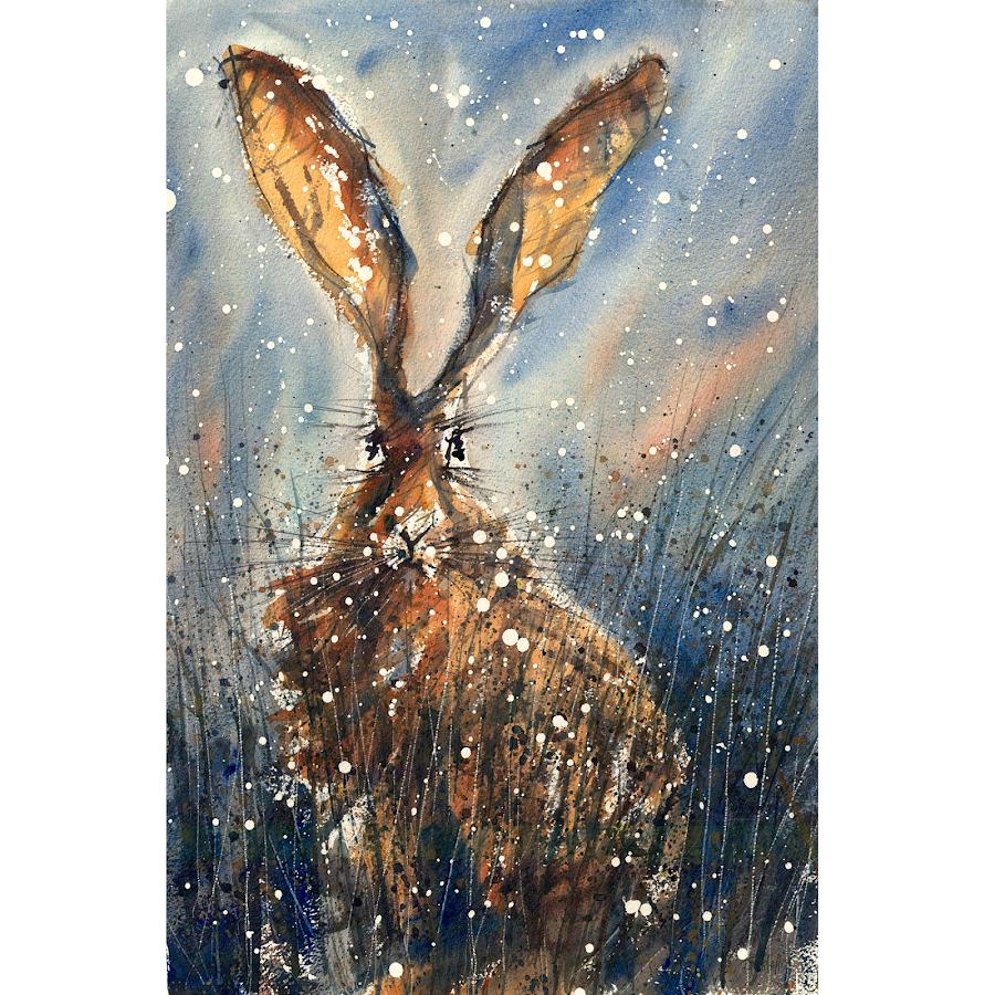 Christmas Hare art print painting watercolour