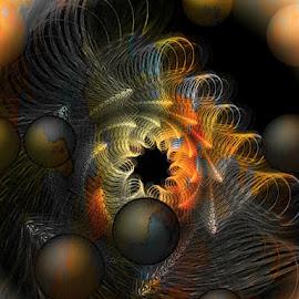 Orbis by Nancy Bowen - Illustration Sci Fi & Fantasy ( black hole, orbiting, cosmic, worlds )