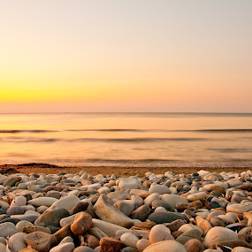 On the beach at dusk by Emil Zaman - Landscapes Beaches ( orange, sunrise, dusk, beach, tranquility, sun, summer )