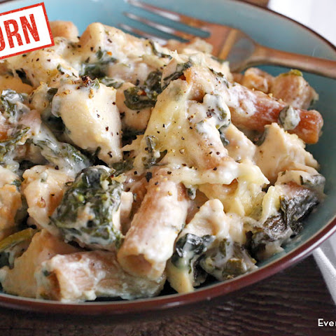 Einkorn Asiago Chicken Pasta Bake