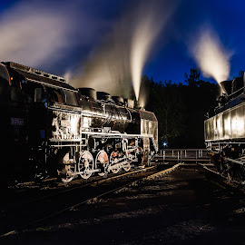 At night at the roundhouse by Christian Spiller - Transportation Trains ( steam engine, roundhouse, blue hour, steam train, czech republic, train, night, steam )
