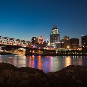 Cincinnati by Erik Lykins - City,  Street & Park  Skylines ( skyline, reflection, ohio, ohio river, night, cincinnati, river )