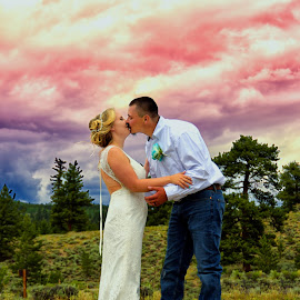 by Tony Lobato - Wedding Bride & Groom ( clouds, love, kissing, lovers, wedding, storm, bride, groom, couples )