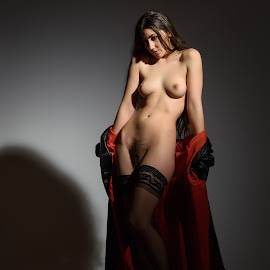 Red by John McNairn - Nudes & Boudoir Artistic Nude ( stockings, model, red, nude, female, leather )