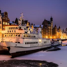 Gdansk Ship by Adam Lang - Transportation Boats ( gdansk, night, boat, frozen, river )