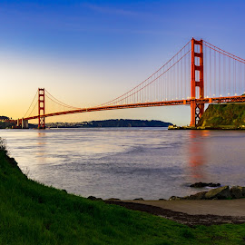 Golden Gate Bridge from Fort Baker by John Rourke - Buildings & Architecture Bridges & Suspended Structures ( 2017, fort baker, marin county, golden gate bridge, ca, san francisco bay, california, sunrise, landscape, usa, san francisco, horseshoe bay )