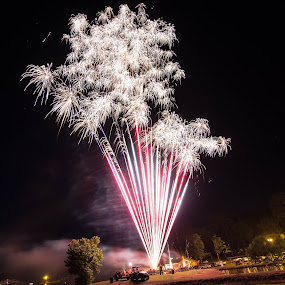 Standing in the line of fire by April Sadler - Public Holidays July 4th ( #fireworks #lake#colors#people#raysoflight )