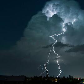 lightning over montana by Duane Deboer - Landscapes Weather