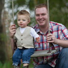 Real Dad's Swing by Craig Lybbert - People Family ( playing, dad, play, blue eyes, fun, swing, antique, boy )