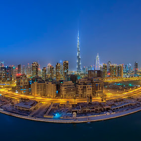 UFO by Andrew Madali - Buildings & Architecture Architectural Detail ( dubai, blue hour, night, burj khalifa, city )
