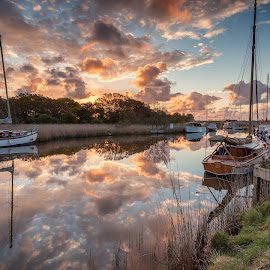 Boats Moored at Horsey by George Johnson - Landscapes Waterscapes ( water, reflection, uk, dawn, boats, sunrise, morning, windmill, river )