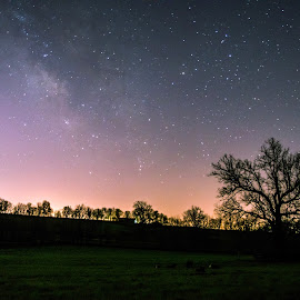 Chasing the Milky Way in Kentucky. by Jim Dawson - Novices Only Landscapes ( kentucky.  milky way. stars. farm. morning. nikon. long_exposure. )