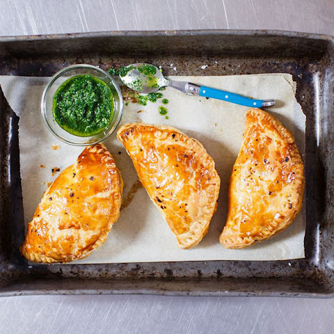 Chorizo and beef empanadas with chimichurri by Miguel Maestre
