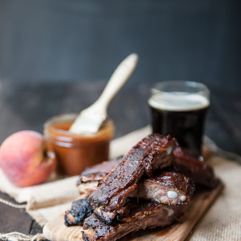 Pork Ribs with Chipotle Peach Beer Barbecue Sauce