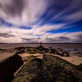 On the Rocks by Abílio Neves - Landscapes Cloud Formations ( water, sand, sky, beach, rocks )