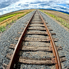 The Long Trip by Barbara Brock - Transportation Railway Tracks ( train tracks, railroad tracks, fish-eye train tracks, idaho skies, cloudy skies )